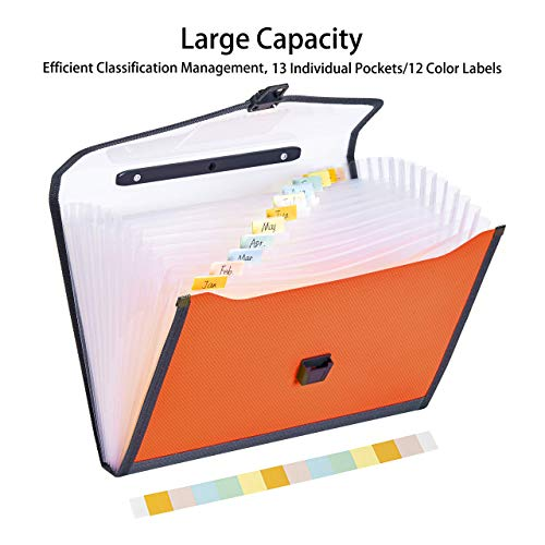 FANWU 13 Pockets Expanding File Folder Accordion File with Handle & Buckle - Letter A4 Paper Size - Expandable Plastic File Folder Monthly Portable Document Organizer for Home School Office (Orange) Photo #4