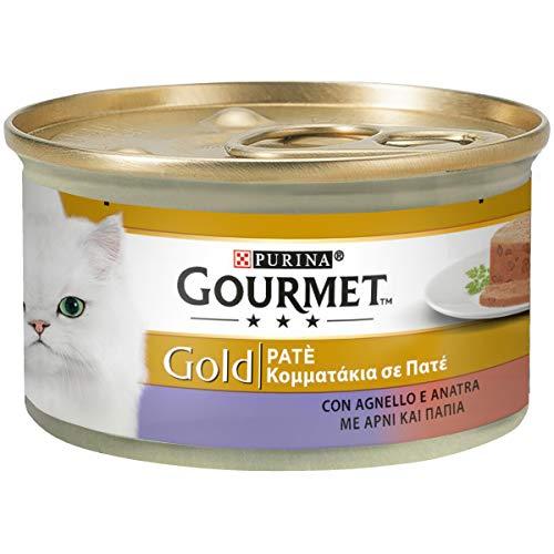 Purina Gourmet Gold Umido Gatto Patè con Agnello e Anatra, 24 Lattine da 85 g Ciascuna, Confezione da 24 x 85 g