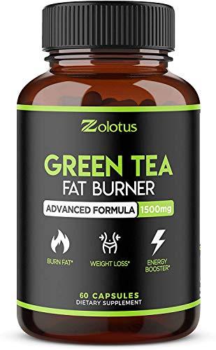 Organic Green Tea Fat Burner + Garcinia Cambogia Weight Loss Pills for Women & Men, Energy & Diet Pills, Metabolism Booster, Appetite Suppressant and Weight Loss for Women, 60 Capsules