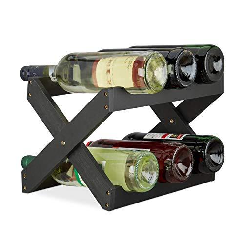 Relaxdays Weinregal Bambus, X Shape, 6 Flaschen, platzsparend klein, Flaschenregal faltbar, HBT 22 x 36 x 20 cm, schwarz