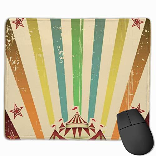 HUAYEXI Alfombrilla Raton Ordenador,Carpa de Circo Antiguo Anuncio Tema Rayas Estrellas y Tienda de Feria,Alfombrilla Gaming Base de Goma Antideslizante