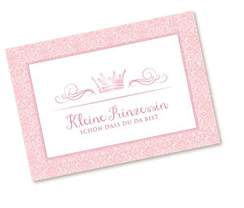 Postkarte Babykarte Glückwunschkarte zur Geburt mit KRONE in ROSA KLEINE PRINZESSIN - SCHÖN, DASS DU DA BIST Zur Taufe und Geburt für ein Mädchen