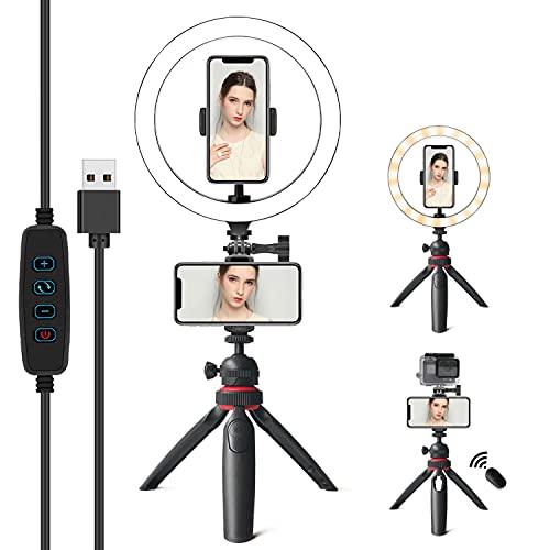 """Ring Light Da Telefono Tik Tok,10"""" Luce per Selfie,Video,Youtube,Trucco,Anello luminoso Multifunzionale Dimmerabile Compatibile Con IPhone/Android,Con Telecomando Bluetooth"""