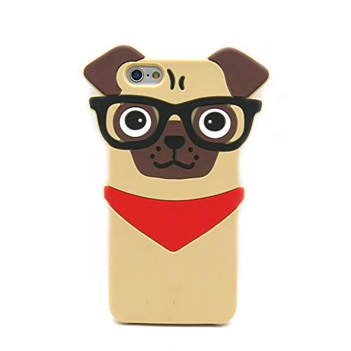 Iphone 6Plus Pug Case, Iphone 6S Plus Pug Case, 3D Cute Cartoon Hipster Pug Dog Silicone Cover for Iphone 6/S Plus 5.5inch, Fashion Pet Doggie Protective Cell Phone Cases Boys Girls