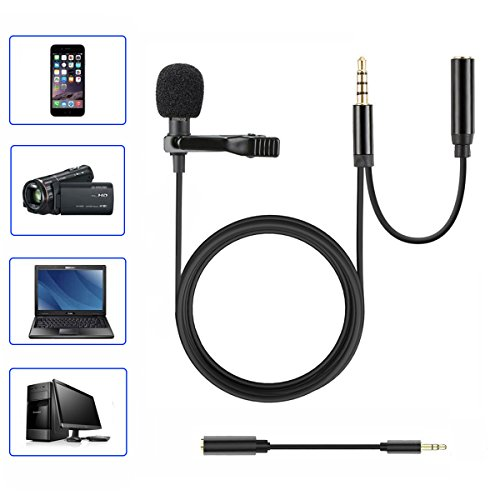 Homics Lavalier Lapel Microphone Professional Grade Condenser Microphones with 2 Mic Heads, Easy Clip On System and Windscreen Included Perfect for Outdoor Recording, Youtube and Podcast