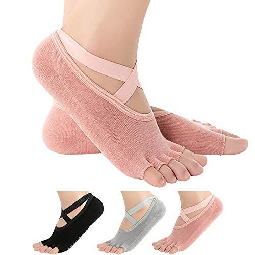 Yoga Socks for Women Non Slip Pilates Socks Grip Socks for Women Pilates Barre Ballet Yoga (All Size) (3 Pairs- Black/ Grey/Pink)