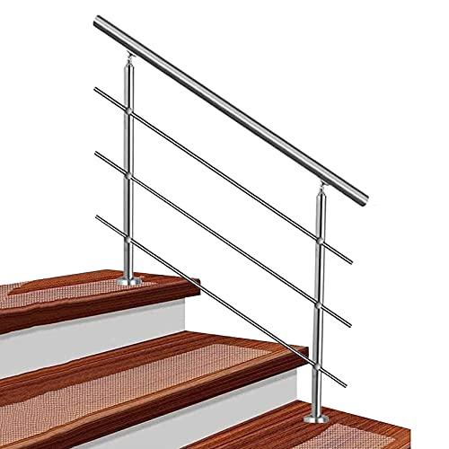 QDY-Handrails Barandilla Pasamanos para escalones Exteriores, pasamanos Ajustable de Acero Inoxidable con 3 Barras transversales, para balcón, barandillas, Patios, Interiores y Exteriores, Plateado