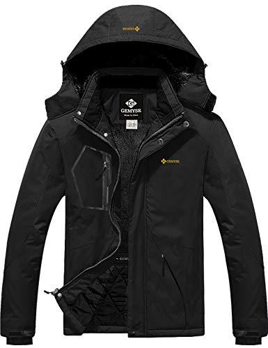 GEMYSE wasserdichte Skijacke für Herren Winddichte Fleece Outdoor-Winterjacke mit Kapuze (Schwarz,2XL)