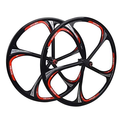 Roue De Vélo 26 Pouces (Avant + Arrière) Double Paroi en Alliage De Magnésium Jante VTT À Dégagement Rapide Frein À Disque Hybride Paire De Roues VTT 7 8 9 10 Vitesses