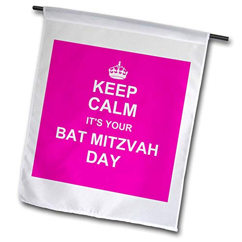 3dRose FL 157643_ 1Keep Calm It 's Your Day für Bar Mitzwa Hot Pink Text jüdische Mädchen 12. Geburtstag Ermutigung Garten Flagge, 12von 18