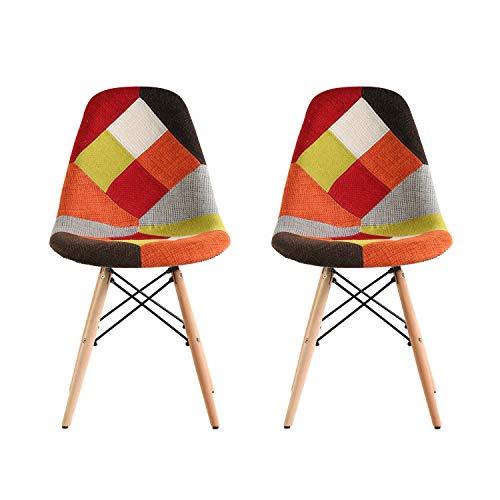 Conjunto de 2 sillas de comedor Patchwork de tela retro Cocina Eiffel Sillas ocasionales para la recepción de la oficina Lounge Restaurante con asiento acolchado tapizado suave (Patchwork rojo)