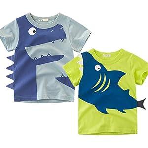 2枚組 少年子供服 男の子 半袖 T Boys Short Sleeve T-shirt ボーイズ服 綿100% 柔らかい 夏 90 100 110 120 130 140cm (サメ, 120CM)