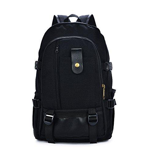 Minetom Grande Capacità Cerniera Tela Borsa A Zainetto Unisex Spalla Zaini Scuola Superiore Zainetti Bag Zaino Nero One Size(29*12*42 Cm)