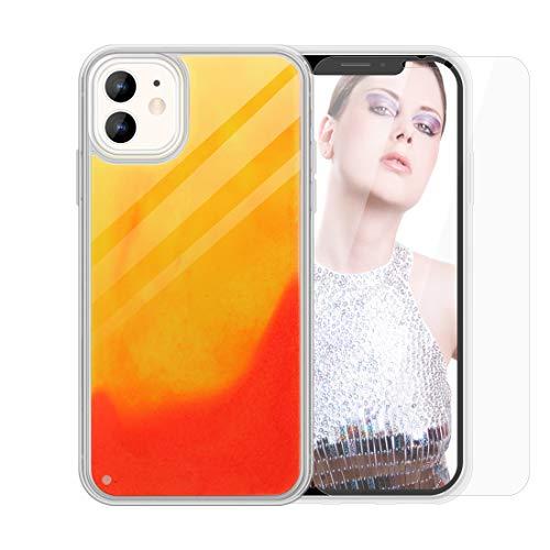 SanLead Custodia Luminosa per iPhone 11, Custodia Protettiva per Telefono al Neon Liquido Sabbie Mobili Protezione Addensata Antiurto e AntiGraffio (Arancione e Rosso)