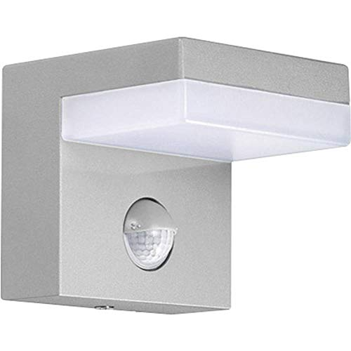 GEV 21709 LED-Wandleuchte mit Bewegungsmelder, Aluminium, grau, 9.69 x 9.5 x 9 cm