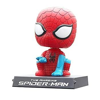 Amazing Spider Hero Dashboard Toys Bobblehead Car Interior Accessories Super Hero Big Hero Red Car Doll Cute Car Accessories Silicone Bobble Head Spiderman for Car Dashboard Toys Phone Holder