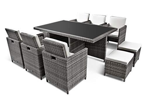 Ragnarök PolyRattan - DEUTSCHE Marke - EIGENE Produktion - Gartenmöbel Essgruppe Tisch 6 Stuhl 4 Hocker 16 Polster Grau Rostfrei Aluminium Doppelhabrund