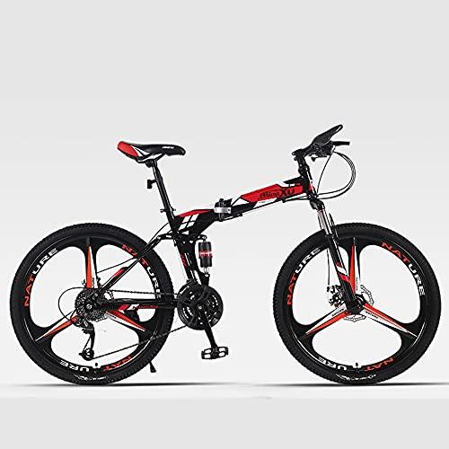 GWL Bicicleta Plegable para Hombre, Bicicleta de montaña de Velocidad Variable, 26 Pulgadas, Doble Amortiguador, Estudiante, Bicicleta Ligera con Tres Ruedas y 21 velocidades/C
