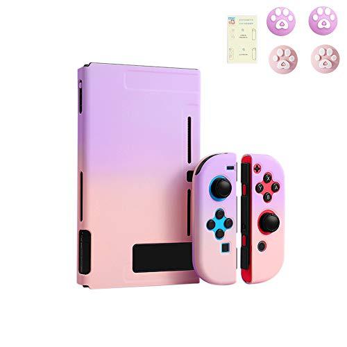 スイッチ ケース 分体式 Nintendo Switch カバー 薄型 Joy-Con用 親指キャップ ニンテンドースイッチ カバー 指紋防止 全面保護 ニンテンド ケース (色 : 紫-ピンク, サイズ : セット)
