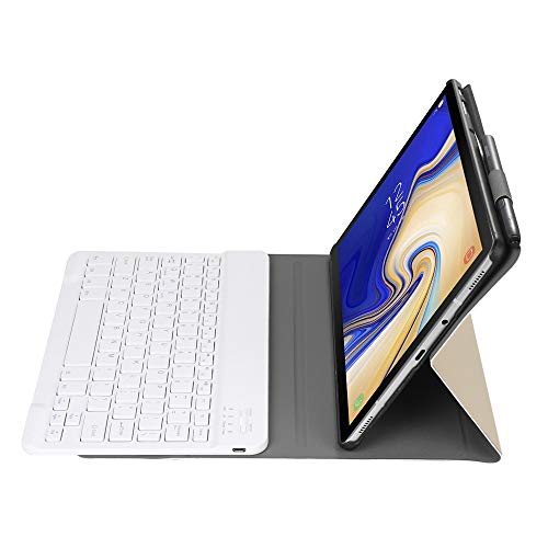 WEI RONGHUA Protective Case A720 Bluetooth 3.0 Ultra-thin Detachable Bluetooth Keyboard Leather Case for Samsung Galaxy Tab S5e T720, with Pen Slot & Holder (Black) Tablet Case (Color : Gold)