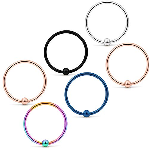 Yaalozei 6PCS 22G 8mm Stainless Steel Attached Captive Bead Nose Hoop Rings Eyebrow Cartilage Helix...