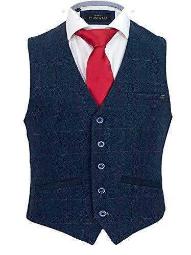 Cavani Herren Carnegie Prüfen Tweed Slim Fit Weste Blau, 50 EU/40 UK