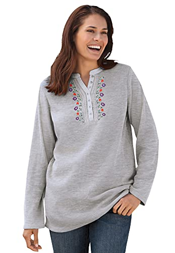 Woman Within Women's Plus Size Embroidered Thermal Waffle Henley Tee Long Underwear Top - 5X, Heather Grey Vine Embroidery Gray