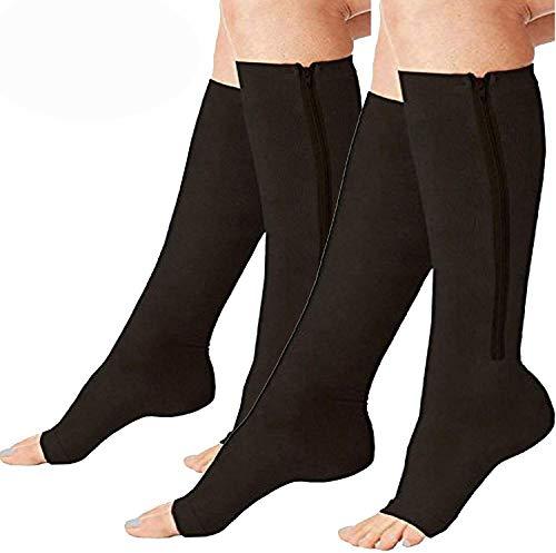 2 Pairs Compression Socks Toe Open Leg Support Stocking Knee High Socks Zipper (Black, L/XL) …