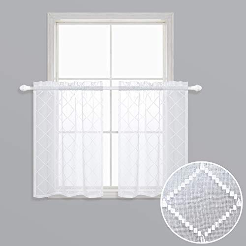 White Sheer Curtains 24 inch Length for Kitchen Windows Set of 2 Cafe Curtain Tier Lace Quatrefoil Pattern Trellis Patterned Embroidered Design Semi Half Small Short Curtains for Bathroom 30x24 Long