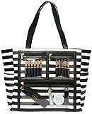 Women Faux Leather Handbag Striped Display Marketing Presentation Bag Tote (Black)