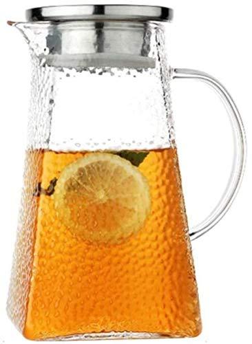 Jarra de cristal con tapa y asa de borosilicato, resistente al calor, para té, agua fría caliente, vino, café, leche y zumo, jarra con boquilla
