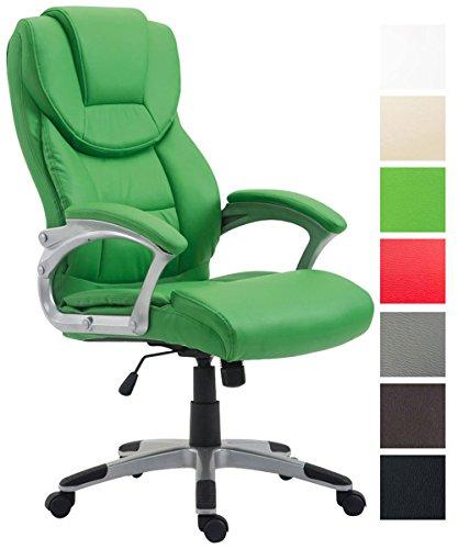 CLP Bürostuhl XL Texas V2 mit Kunstlederbezug l Drehstuhl mit Armlehnen l Chefsessel mit Wippmechanismus l Max. belastbar bis 180 kg l Grün