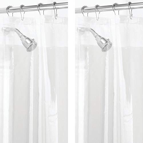 mDesign 2er-Set PVC-freier Duschvorhang aus PEVA – geruchloser, wasserfester Duschvorhang mit Magneten im Saum – perfekt als Badewannenvorhang 183 cm x 183 cm – durchsichtig