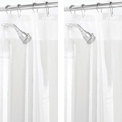 mDesign Plastic, Mold/Mildew Resistant, PEVA Shower Curtain Liner for Bathroom Showers and Bathtubs - 3 Gauge - 2 Pack - Clear