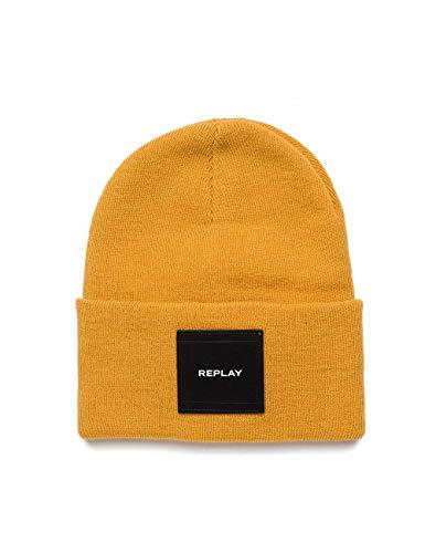 Replay Unisex AX4167.000.A7003 Strickmütze, Gelb (Sun Yellow 154), One Size (Herstellergröße: UNIC)