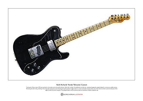George Morgan Illustration Fender Telecaster Custom edición Limitada Fine Art Print A3...