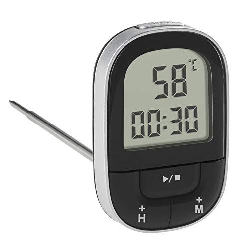 TFA Dostmann 30.1062.01 Thermomètre de cuisine numérique avec minuterie et chronomètre, rétroéclairage noir, plastique