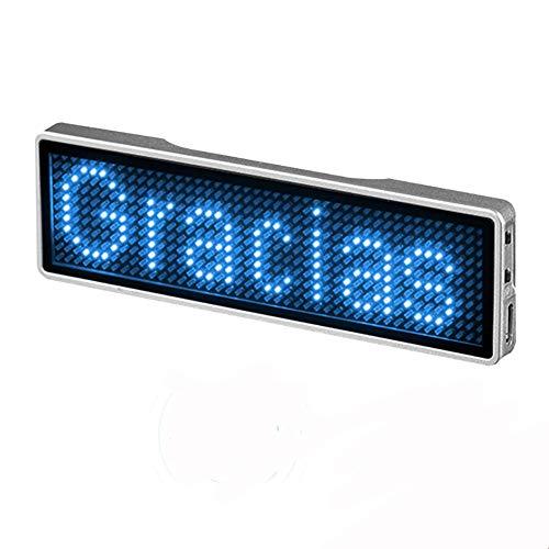 Dankera Etiqueta de Nombre Led Tablero de Visualización de Desplazamiento Led Letrero de Desplazamiento Led Insignia de Nombre Bluetooth Inalámbrico Recargable Insignia de Nombre Led