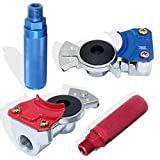 Boeray Aluminum Emergency Gladhand Universal Glad Hands Air Hose Brake Coupling Service Handshake with Anodized Aluminum Glad Handle Set for Truck Semi Trailer RVs 1 Red 1 Blue