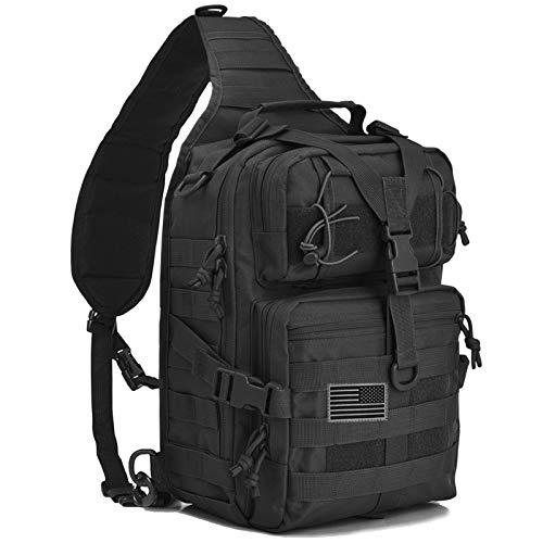 Hopopower Tactical Sling Bag Pack Military Rover Schulterschlinge Rucksack Daypack, Herren, schwarz, Small
