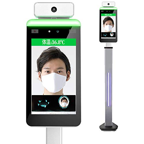 Face Recognition Temperature Measurement System, Infrared Body Temperature Kiosk Thermal Scanner Access Control Face Thermometer All-in-One Machine, Support face Comparison Library (Stand Included)