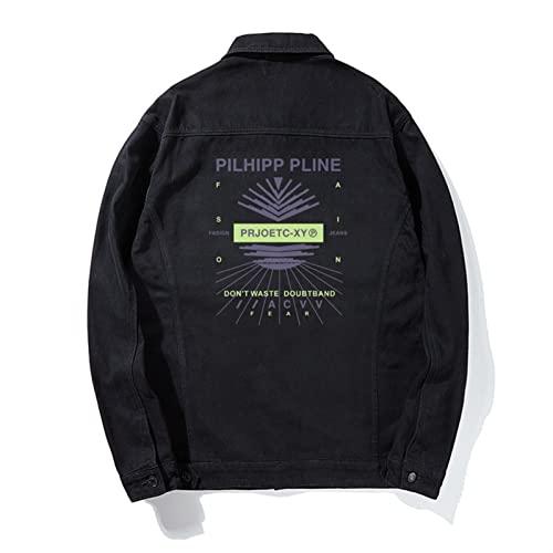 Scbolai Lapel Denim Retro Suelto Abrigo Singlete Cardigan Moda Hip-Hop Línea geométrica de impresión Camisa de los Hombres (Color : Black, Size : 8X)