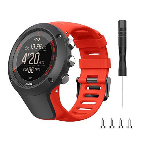 LXF JIAJU Nueva Correa para Suunto Ambit 1 2 3 2R 2S 24 Mm Reloj De Hombre Banda De Goma Cinturón De Pulsera con Tornillos Y Accesorios De Reloj De Destornillador (Color : Red)