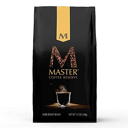 Master Coffee Reserve, Gourmet Dark Roast Beans Brazilian Coffee, 12 oz, Fresh Aroma and Invigorating Flavors for Espresso, French Press or Cold Brew
