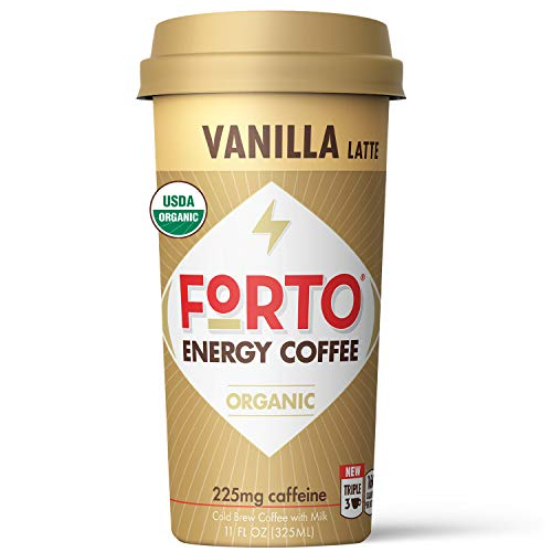 FORTO Energy Coffee – Vanilla Latte, Delicious & Organic Energy, Ready-To-Drink 11 Fl Oz, Pack of 12