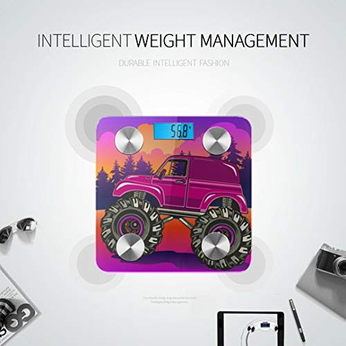 JXCSGBD Retro Cool Truck Car Vehicle Best Weight Scale Thinner Scale Smart Body Scale Tracks 8 Key Compositions Analyzer Sync with Fitness Apps 400 Lbs