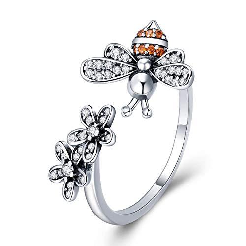 Anillo de plata de ley 925 con diseño de abeja y margaritas para mujer, anillo ajustable, anillo de flores para niña, anillo apilable, regalo con caja de joyería