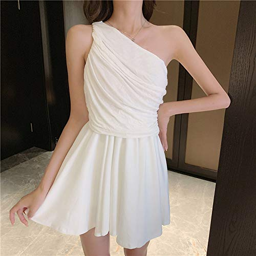 Basbsa De Moda Retro Irregular del Vestido de Las Mujeres del Verano de Hombro Desmontable de Manga Larga Vestido Plisado de la Industria Pesada (Color : Blanco)