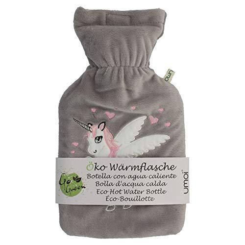 Premium Wärmflasche Einhorn 1 Liter mit hochwertigem weichem Fleece Bezug eingesticktem Einhorn, Klettverschluss und extra Fütterung, BS1970:2012 zertifiziert, neues Modell, TÜV getestet