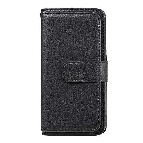 JZ 10 Credit Card Slot Funda For para Moto G9 Plus,Hidden Button Solid Color Flip Cover For para Motorola Moto G9 Plus [Handbag][Money Pocket] - Black